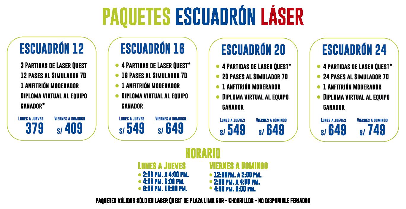 Paquetes de escuadrón Laser Quest